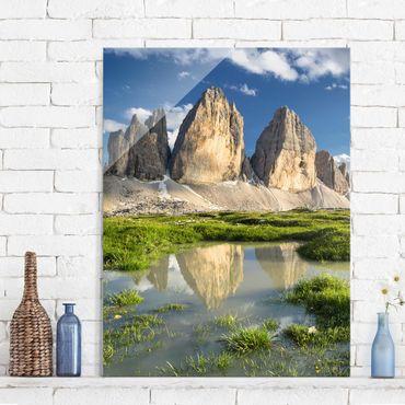 Glasbild - Südtiroler Zinnen und Wasserspiegelung - Hoch 3:4