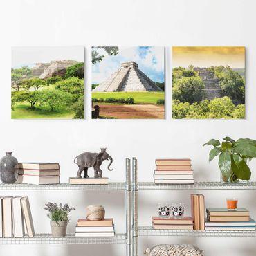 Glasbild mehrteilig - Mexiko Pyramiden 3-teilig