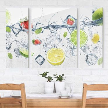 Glasbild mehrteilig - Frucht Cocktail 3-teilig