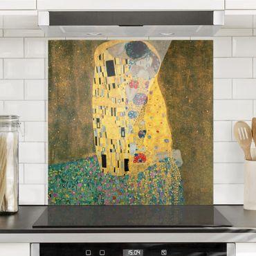 Spritzschutz Glas - Gustav Klimt - Der Kuß - Quadrat 1:1