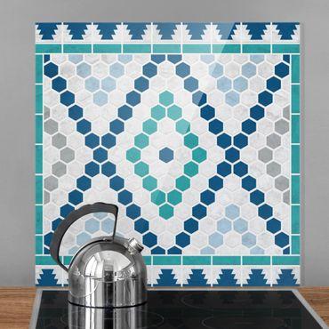 Spritzschutz Glas - Marokkanisches Fliesenmuster Türkis Blau - Quadrat 1:1