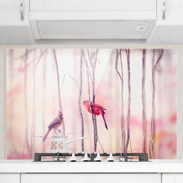 Spritzschutz Glas - Vögel auf Zweigen - Quer 3:2