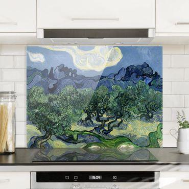 Spritzschutz Glas - Vincent van Gogh - Olivenbäume - Quer 4:3