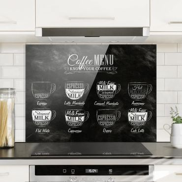 Spritzschutz Glas - Kaffeesorten Kreidetafel - Quer 4:3