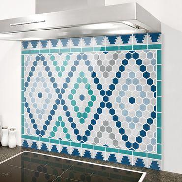 Spritzschutz Glas - Marokkanisches Fliesenmuster Türkis Blau - Quer 4:3
