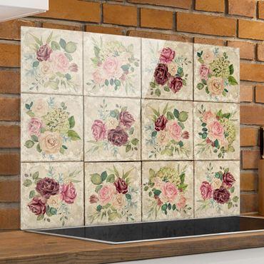 Spritzschutz Glas - Vintage Rosen und Hortensien - Quer 4:3