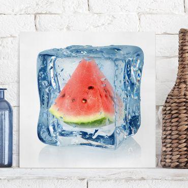 Leinwandbild - Melone im Eiswürfel - Quadrat 1:1