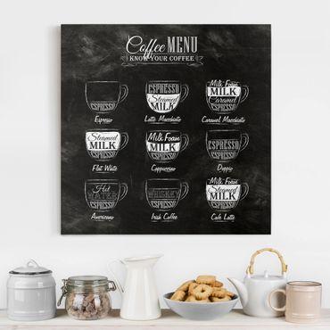 Leinwandbild - Kaffeesorten Kreidetafel - Quadrat 1:1