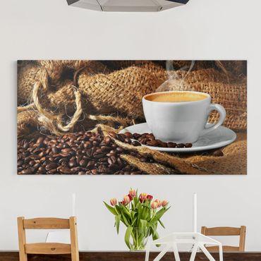 Leinwandbild - Kaffee am Morgen - Quer 2:1