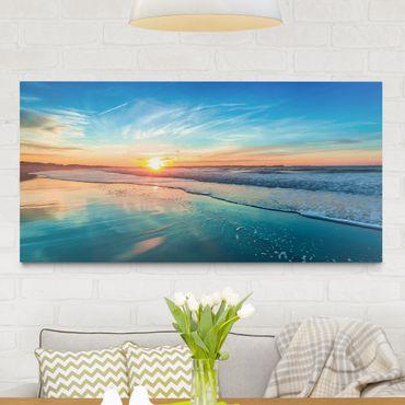 Leinwandbild - Romantischer Sonnenuntergang am Meer - Quer 2:1