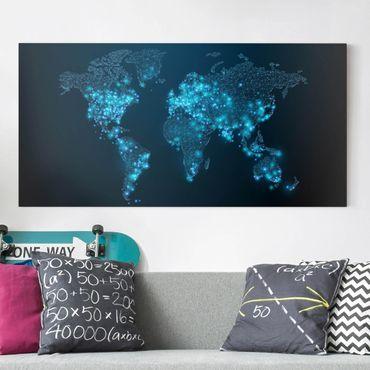 Leinwandbild - Connected World Weltkarte - Quer 2:1