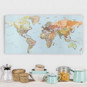 Leinwandbild - Politische Weltkarte - Quer 2:1