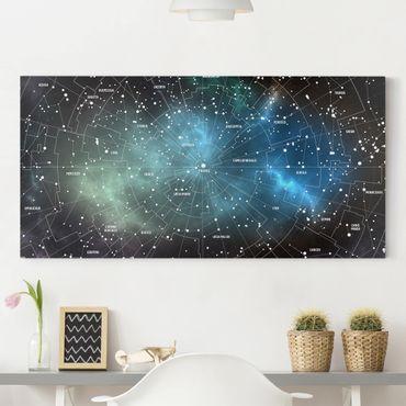 Leinwandbild - Sternbilder Karte Galaxienebel - Quer 2:1