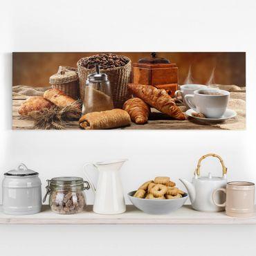 Leinwandbild - Frühstückstisch - Panorama Quer