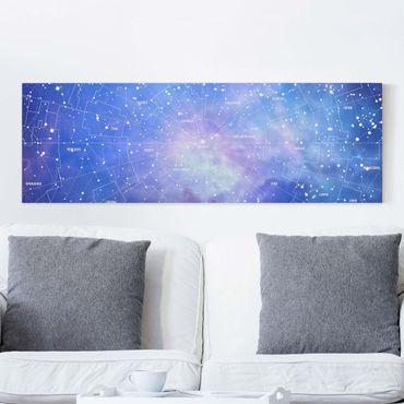 Leinwandbild - Sternbild Himmelkarte - Panorama Quer