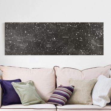 Leinwandbild - Sternbild Karte Tafeloptik - Panorama Quer