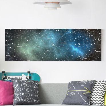 Leinwandbild - Sternbilder Karte Galaxienebel - Panorama Quer