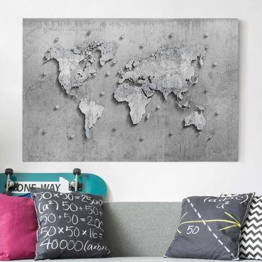 Leinwandbild - Beton Weltkarte - Quer 3:2