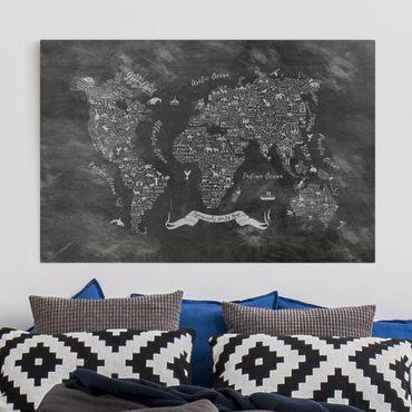 Leinwandbild - Kreide Typografie Weltkarte - Quer 3:2