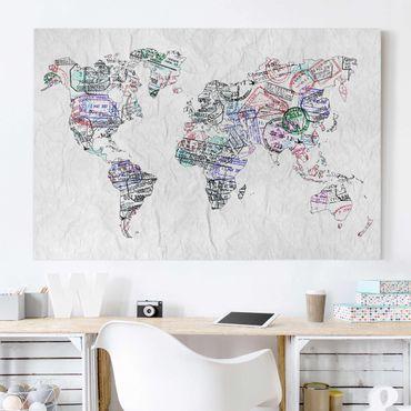 Leinwandbild - Reisepass Stempel Weltkarte - Quer 3:2