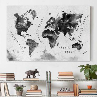 Leinwandbild - Weltkarte Aquarell schwarz - Quer 3:2