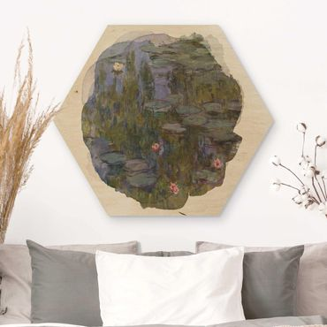 Hexagon Bild Holz - Wasserfarben - Claude Monet - Seerosen (Nympheas)