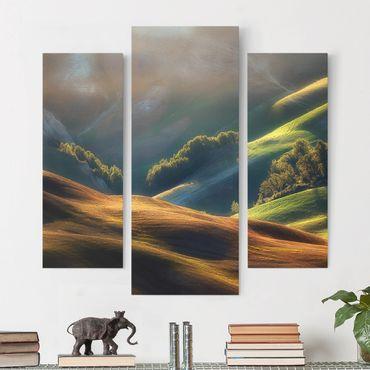 Leinwandbild 3-teilig - Toskana am Morgen - Galerie Triptychon