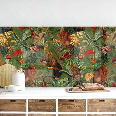 Küchenrückwand - Tropische Blumen mit Affen