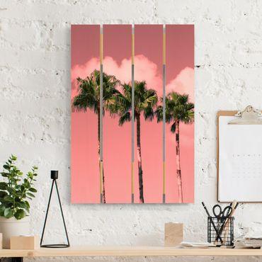 Holzbild - Palmen vor Himmel Rosa - Hochformat 3:2