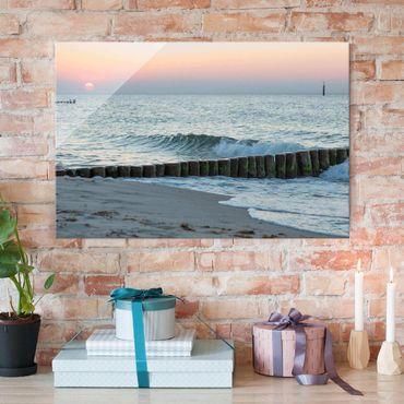 Glasbild - Sonnenuntergang am Meer - Querformat 2:3
