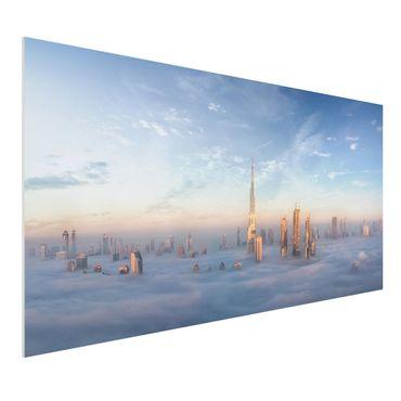 Forex Fine Art Print - Dubai über den Wolken - Querformat 1:2
