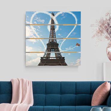 Holzbild - Paris - City of Love - Quadrat 1:1