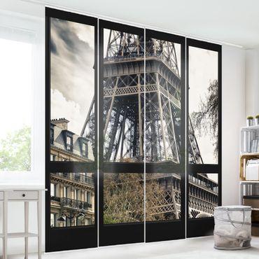 Schiebegardinen Set - Fensterausblick Paris - Nahe am Eiffelturm - Flächenvorhänge