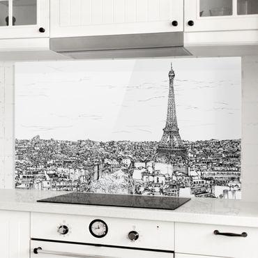 Spritzschutz Glas - Stadtstudie - Paris - Querformat 1:2
