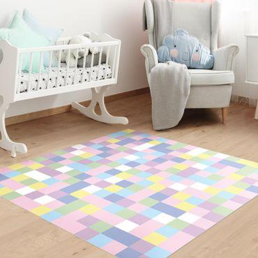 Vinyl-Teppich - Buntes Mosaik Zuckerwatte - Quadrat 1:1