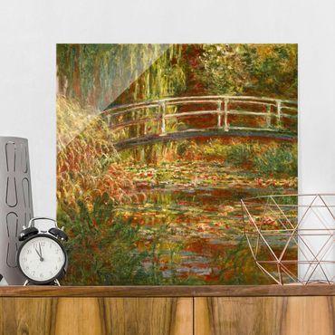 Glasbild - Claude Monet - Seerosenteich und japanische Brücke (Harmonie in rosa) - Quadrat 1:1