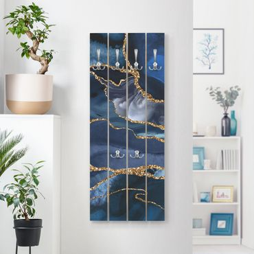 Wandgarderobe Holz - Goldene Glitzer Wellen vor Blau - Haken chrom Hochformat