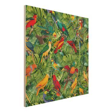 Holzbild - Bunte Collage - Papageien im Dschungel - Quadrat 1:1