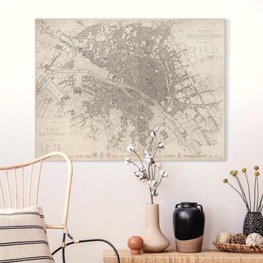 Leinwandbild - Vintage Stadtplan Paris - Querformat 3:4