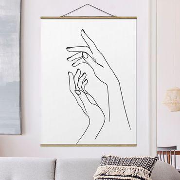 Stoffbild mit Posterleisten - Line Art Hände - Hochformat 4:3