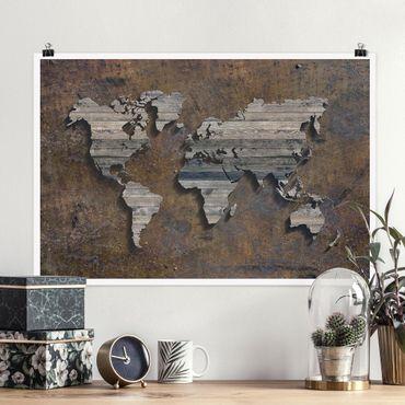 Poster - Holz Rost Weltkarte - Querformat 2:3