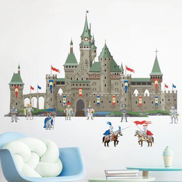 Wandtattoo - Große Ritterburg mit Ritter und Pferde
