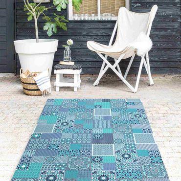 Vinyl-Teppich - Marokkanische Mosaikfliesen türkis blau - Hochformat 1:2