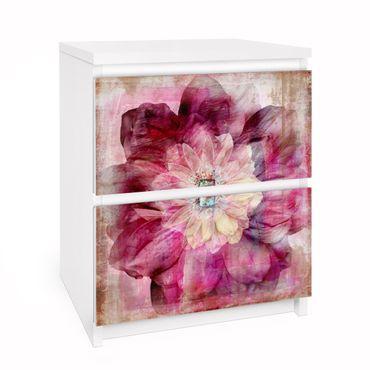 Möbelfolie für IKEA Malm Kommode - Selbstklebefolie Grunge Flower