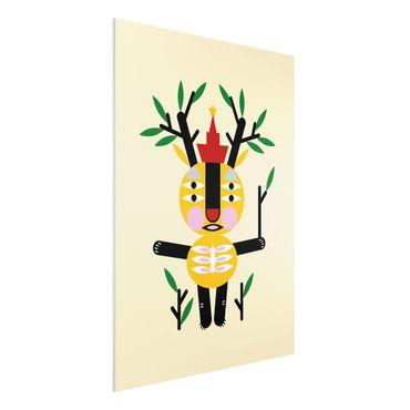 Forex Fine Art Print - Collage Ethno Monster - Hirsch - Hochformat 4:3