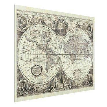 Aluminium Print gebürstet - Vintage Weltkarte Antike Illustration - Querformat 3:4