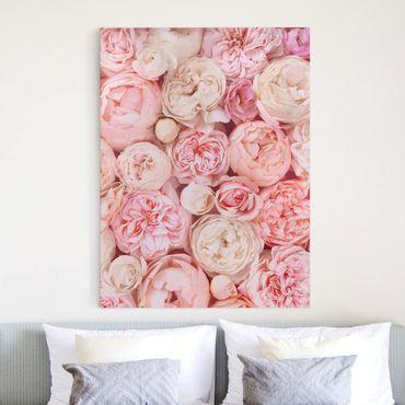 Leinwandbild - Rosen Rosé Koralle Shabby - Hochformat 4:3