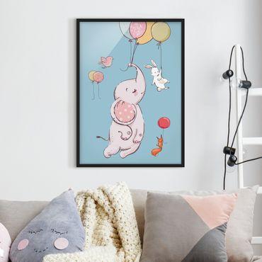 Bild mit Rahmen - Elefant, Hase und Eichhörnchen fliegen - Hochformat 3:4