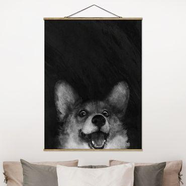 Stoffbild mit Posterleisten - Laura Graves - Illustration Hund Corgi Malerei Schwarz Weiß - Hochformat 4:3