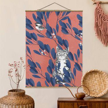 Stoffbild mit Posterleisten - Laura Graves - Illustration Katze und Vogel auf Ast Blau Rot - Hochformat 4:3